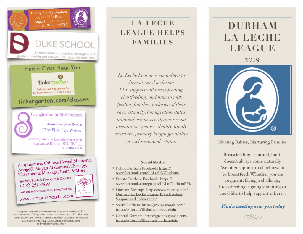 Durham La Leche League 2019 with logo of woman nursing infant on right side; sponsor business cards on left side including Live Love Latch event on August 17, Duke School, Tinkergarten, Triangle Mindful Birthing, and Armonia Health; and diversity statement and social media links in the middle section.